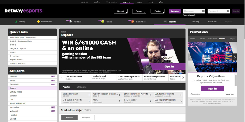 betway esport selection