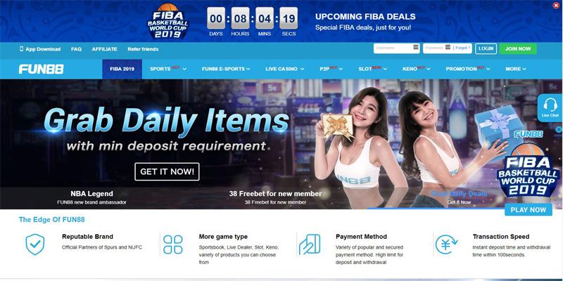Fun88 homepage screenshot