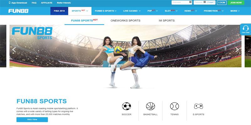 Fun88 sportsbook screenshot