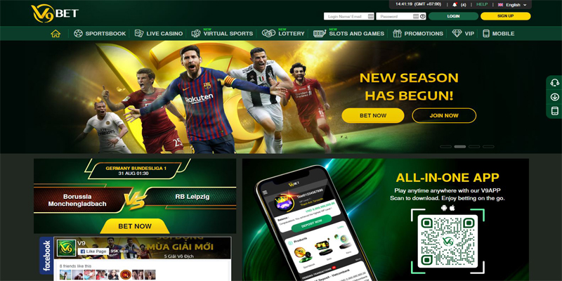 V9bet homepage screenshot