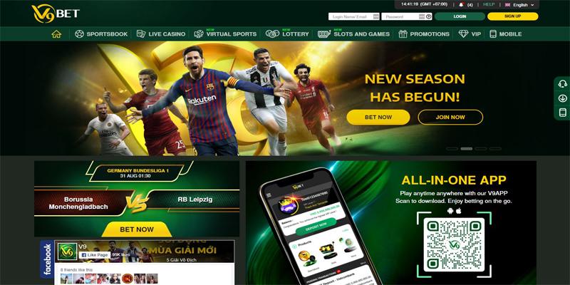 V9bet homepage screenshot