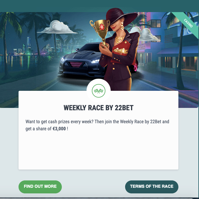 Weekly Race by 22bet
