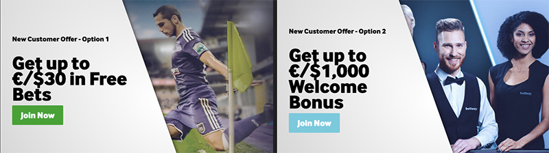 betway welcome bonus and free bets