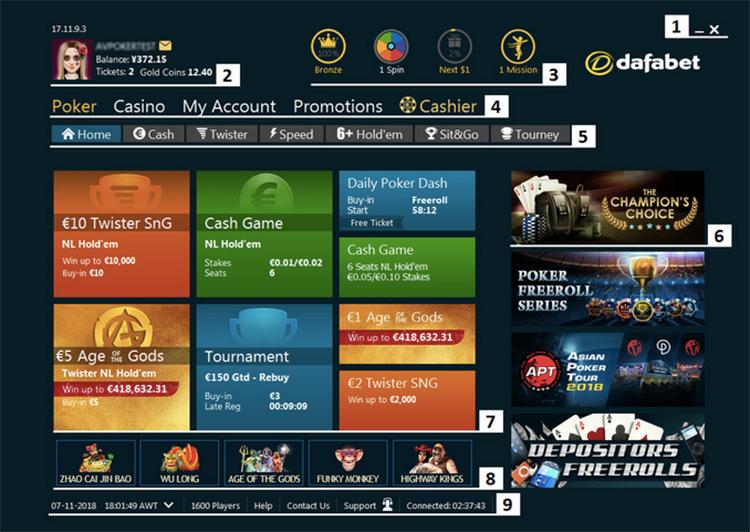 Dafabet poker screenshot